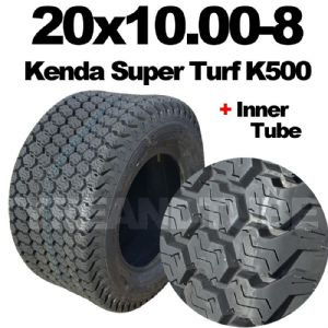 20x10.00-8TYRE MOWER TYRE & TUBE SET KENDA K500 SUPER TURF